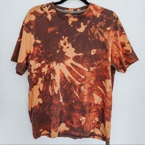 Orange And Brown Eddie Bauer Bleached Tie Dye Tee